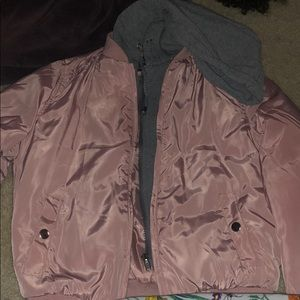 Pink and attached gray hoodie jacket
